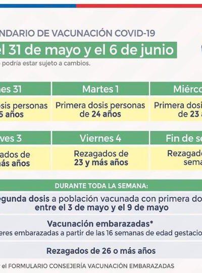 CALENDARIO DE VACUNACIÓN ENTRE EL 31 DE MAYO Y 06 DE JUNIO